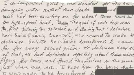 Το χειρόγραφο του Σλαχί, στο οποίο περιγράφει τα βασανιστήρια που υπέστησε στο πλοίο.