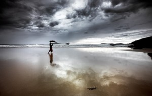 Whiskey Bay in the rain, Wilsons Pormontory, Victoria, Australia.