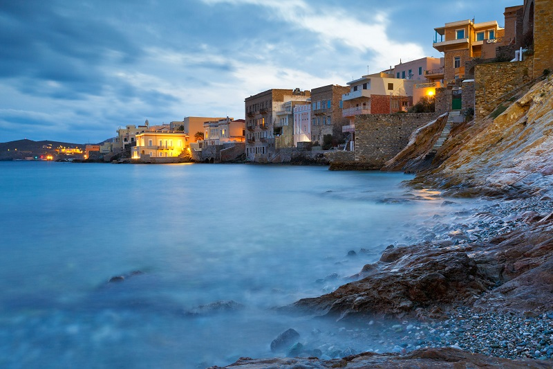 70178585 - town of ermoupoli on syros island.